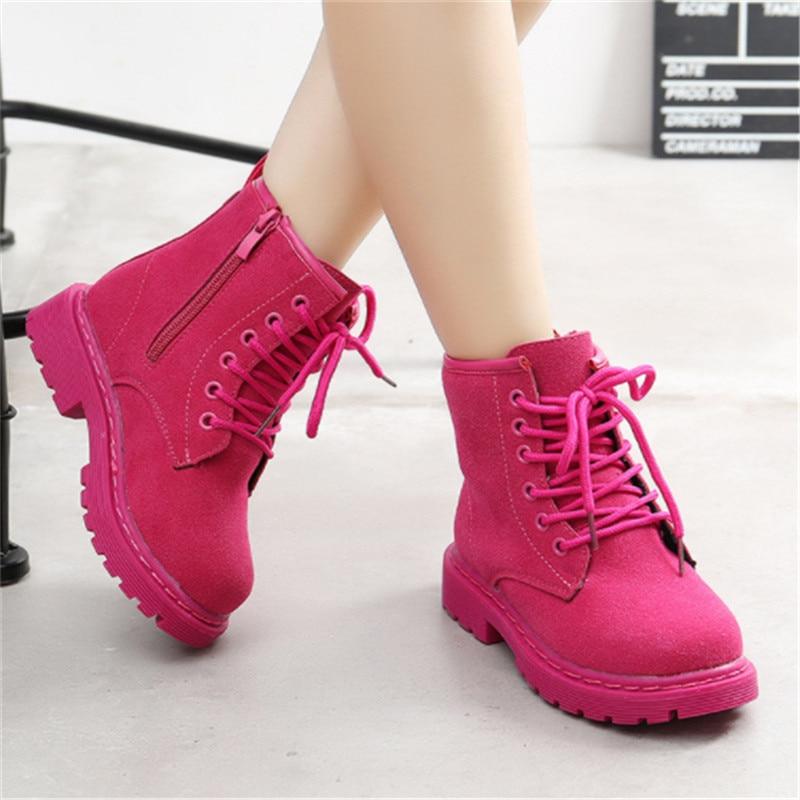 Fashion Girls Boots Ankle Solod Kids Winter Martin Boots For Girls Warm Children Boots Girls Botte Enfant Fille Size 26-36 Pink