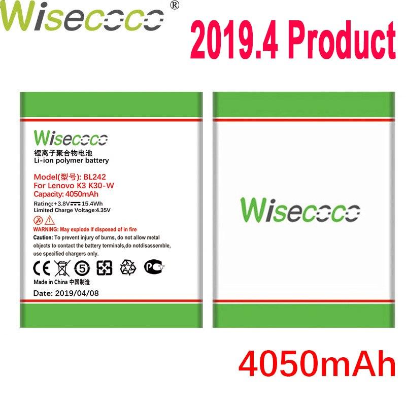 WISECOCO 4050mAh Bateria Para Lenovo K3 BL242 K30-W K30-T A6000 A3860 A3580 A3900 A6010 A6010 Plus Mobile Phone + Número de Rastreamento
