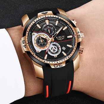 Relogio Masculino LIGE 2020 New Fashion Mens Watches Silicone Strap Top Brand Luxury Sport Chronograph Military Waterproof Watch - discount item  90% OFF Men's Watches
