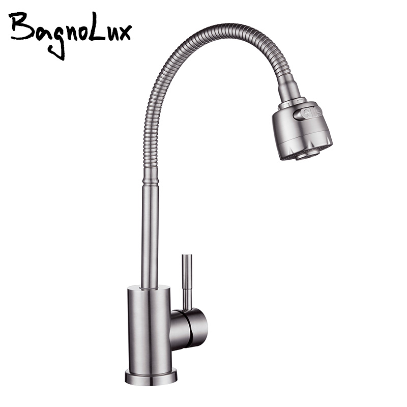 Flexible Single Lever Hole Mixer Cold And Hot  Water Tap Stainless Steel Brushed Sink On-board Installation Kitchen Faucet