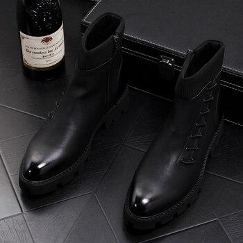England style men's leisure punk motorcycle dress black cowboy boots genuine leather shoes platform ankle boot man zapatos botas