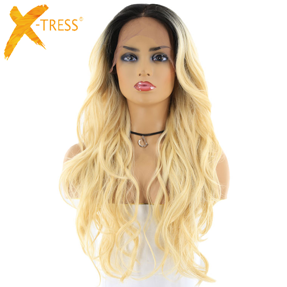 613 Blonde Ombre Color Lace Front Synthetic Hair Wigs For Black Women X TRESS 24inch Long