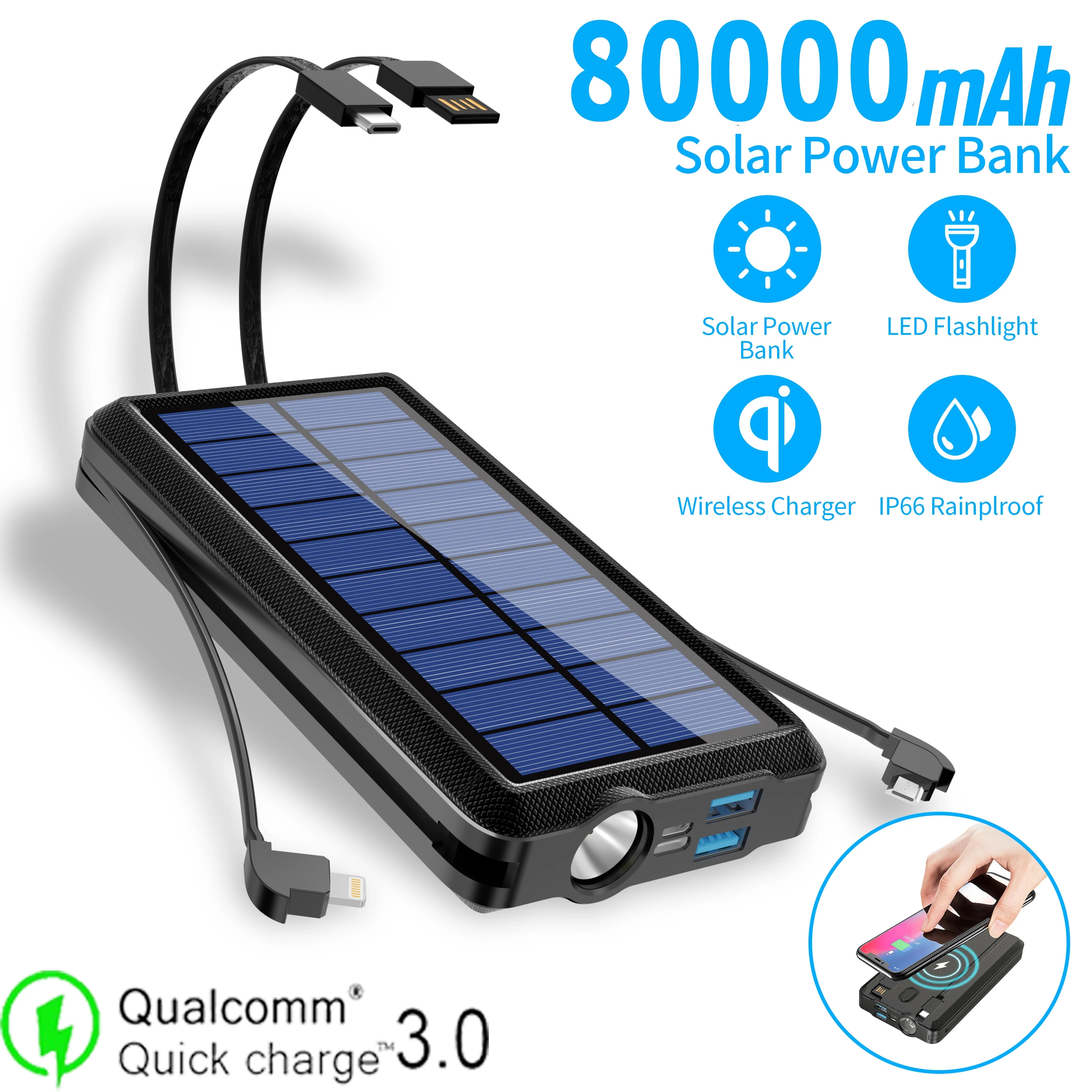 80000mah Qi Wireless Charging Solar Batteery Panel Portable Powerbank LED Emergency Fast External Battery For Iphone Samsung