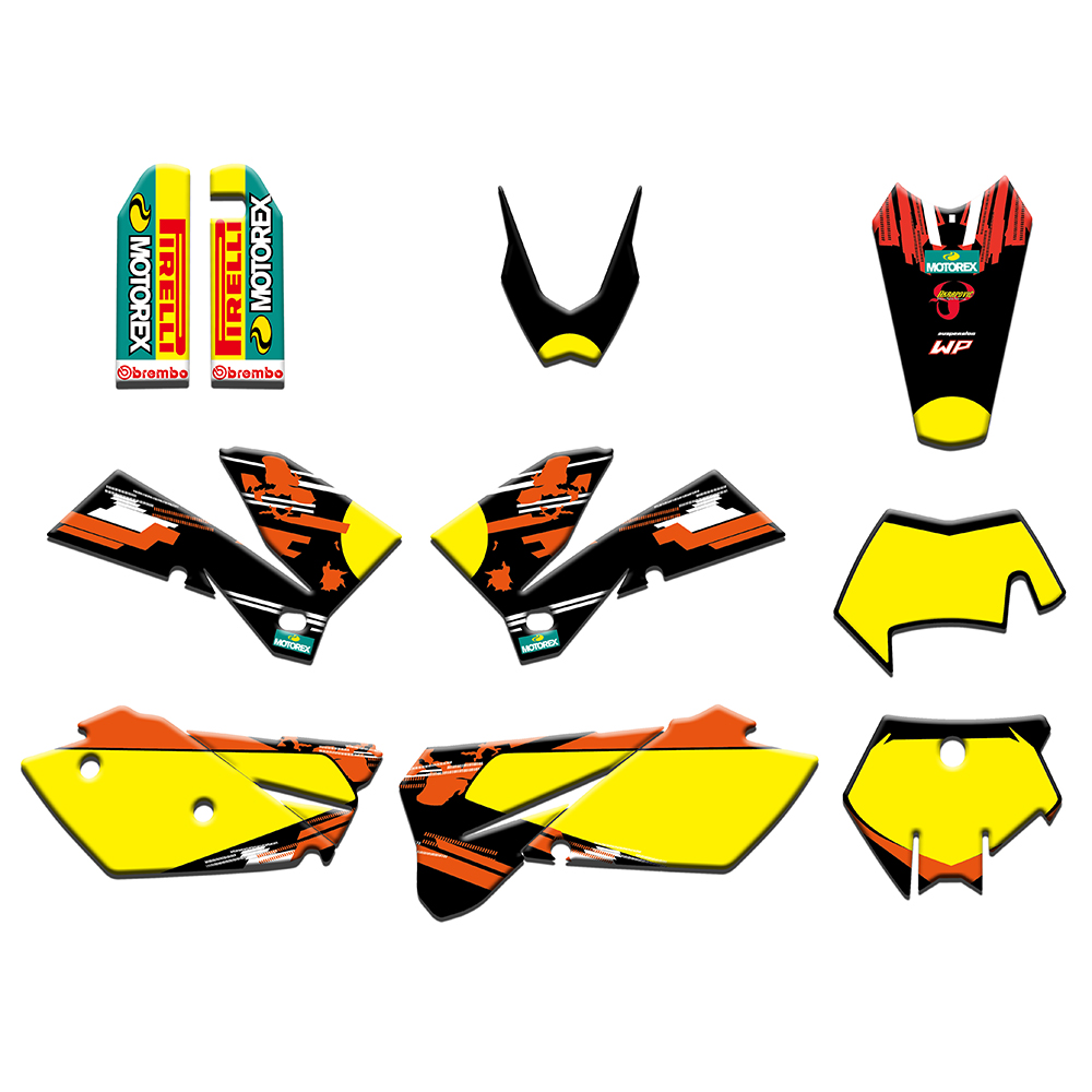 2 styles Team Graphics Stickers Decals Deco Kit For KTM 125 200 250 300 400 450 525 540 SX XC EXC MXC XCF XCW 2005-2007