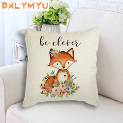 Deer Fox Bear Rabbit Owl Raccoon Printed Cushions Linen Pillowcase Nordic Christmas Throw Pillow Sofa Home Decor