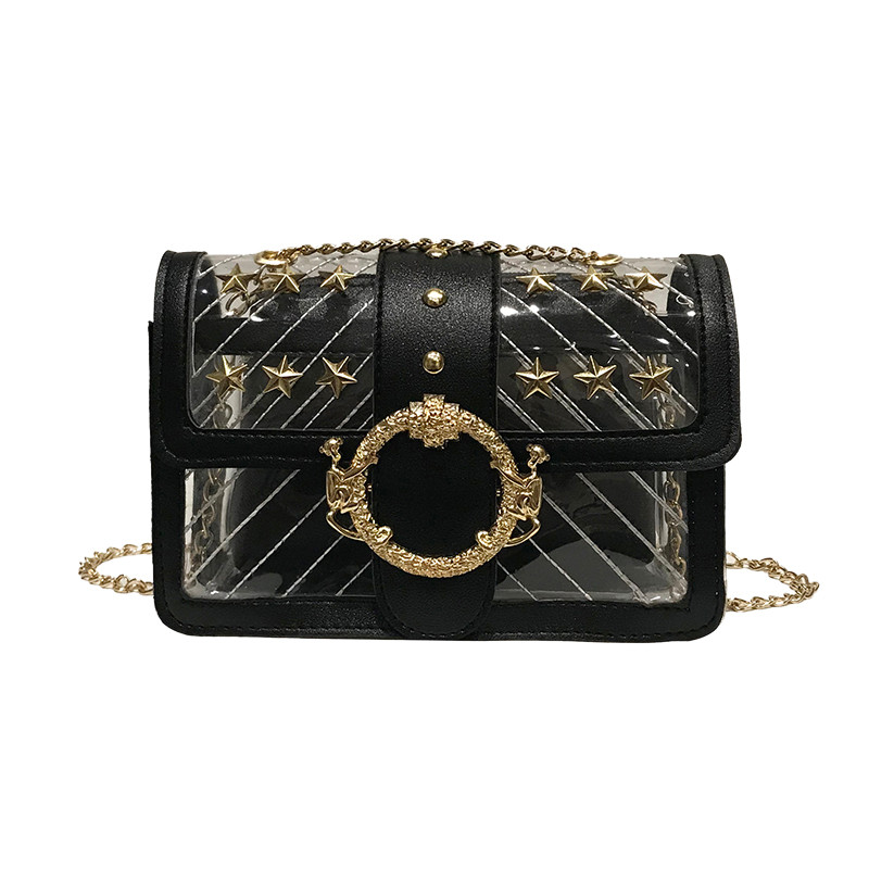 Women's Fashion Casual Solid Color Transparent Handbag Wild Diagonal Package #N