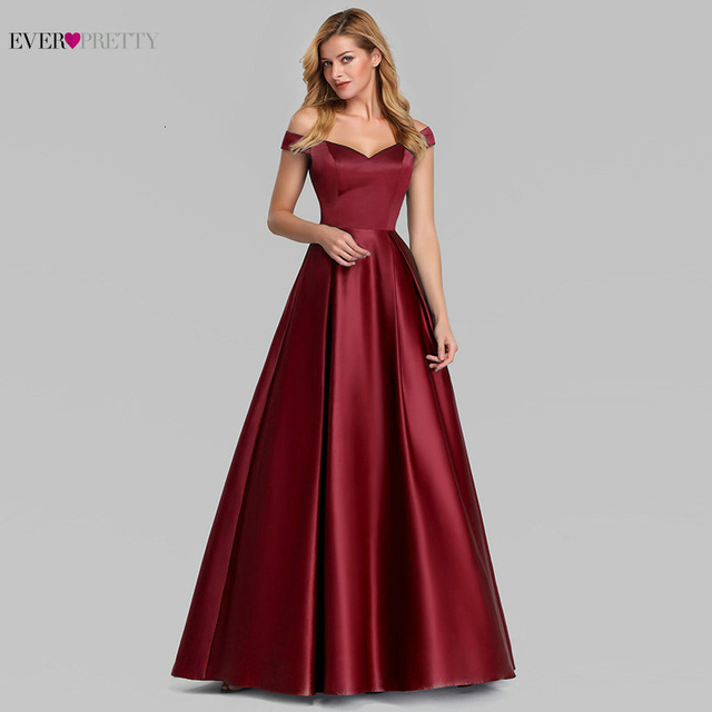 Elegant Burgundy Satin Prom Dress Long Ever Pretty New A Line V Neck Off Shoulder Formal Party Dresses Vestidos De Gala Elegante 2