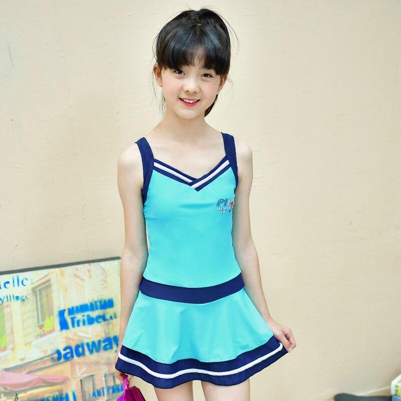 Korean-style New Style Mixed Colors Swimsuit Children One-piece Swimwear Students V-neck Camisole Fashion Cute Swimdress Wholesa