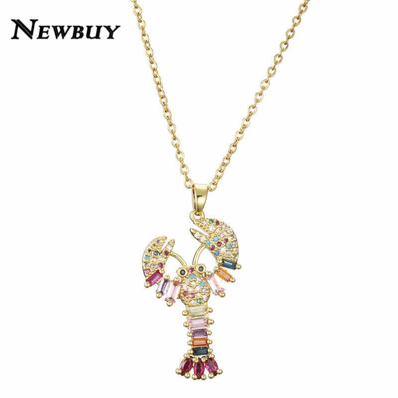 NEWBUY אופנה זהב שרשרת שרשרת לנשים גברים יוקרה עין רעה צלב האריה לובסטר תליון שרשרת קריסטל CZ תכשיטי מתנה