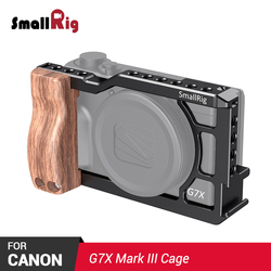 SmallRig G7X Mark III Camera Cage Vlogging Rig for Canon G7X Mark III Feature Wooden handle Grip Cold Shoe Mount for DIY 2422