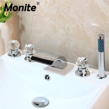 Monite mosiądz 5 sztuk bateria do wanny wodospad wylewka Deck Mounted diamentowe uchwyty chromowany połysk wanna do łazienki mikser kran tanie i dobre opinie YANKSMART Zimnej i Ciepłej Other Współczesna 11TT2c 7000 Trzyosobowy uchwyt ceramic Bathtub Faucet Sink Mixer Taps Waterfall Wall Mounted