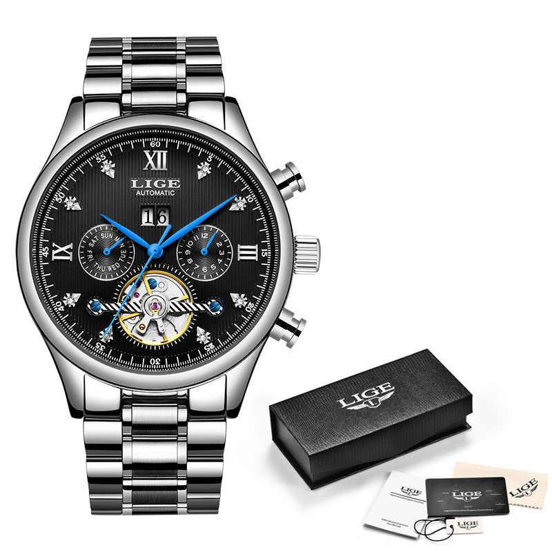 Lige hot 자동 기계식 남성용 시계 남성용 시계 브랜드 럭셔리 비즈니스 방수 밀리터리 뚜르 비옹 시계 reloj hombre