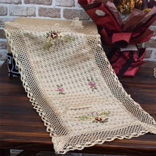 Luxury lace satin Embroidery bed Table Runner cloth cover flag dining tea coffee tablecloth Christmas home party Wedding decor new white lace cotton crochet tablecloth coffee table cloth mat round tea table cover dining christmas xmas party wedding decor