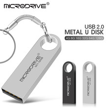 NOVO Usb Flash Drive 128GB de Prata do Metal Pen Drive GB 32 64GB Stick Usb de Alta Velocidade 2.0 16GB 8GB 4GB Pendrive Chaveiro Logotipo Personalizado(China)
