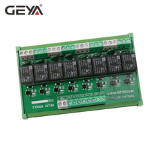 цена на Free ShippingGEYA Din Rail Type 8 Channel Solid State Relay Module AC DC 12V 24V Intermediate Power Relay Control Switch