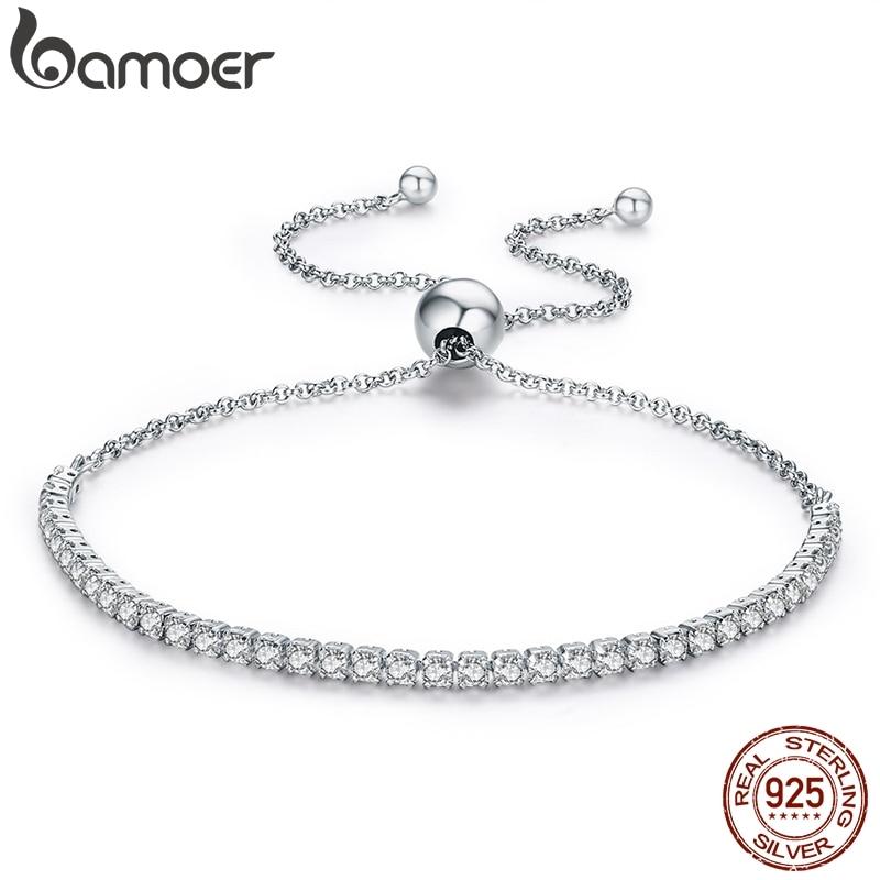 BAMOER 925 Sterling Silver Sparkling Strand Bracelet Women Link Tennis Bracelet Silver Jewelry 3 Colors SCB029(China)