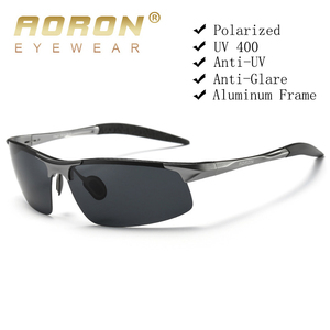 Image 1 - Aoron condução polarizada óculos de sol quadro de alumínio esportes óculos de sol homem motorista retro óculos uv400 anti reflexo