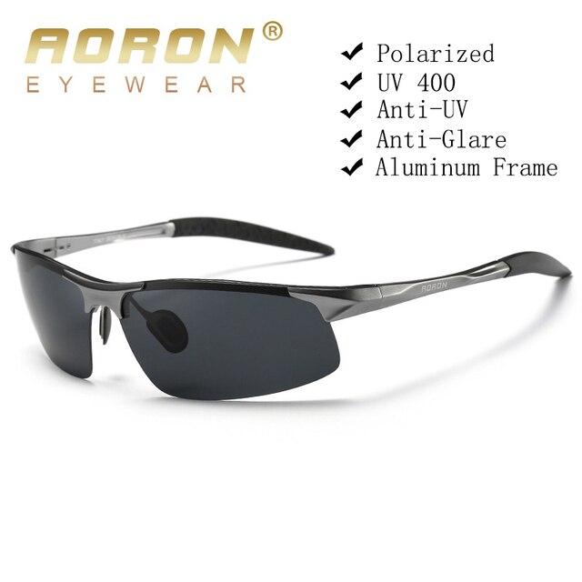 Aoron condução polarizada óculos de sol quadro de alumínio esportes óculos de sol homem motorista retro óculos uv400 anti reflexo