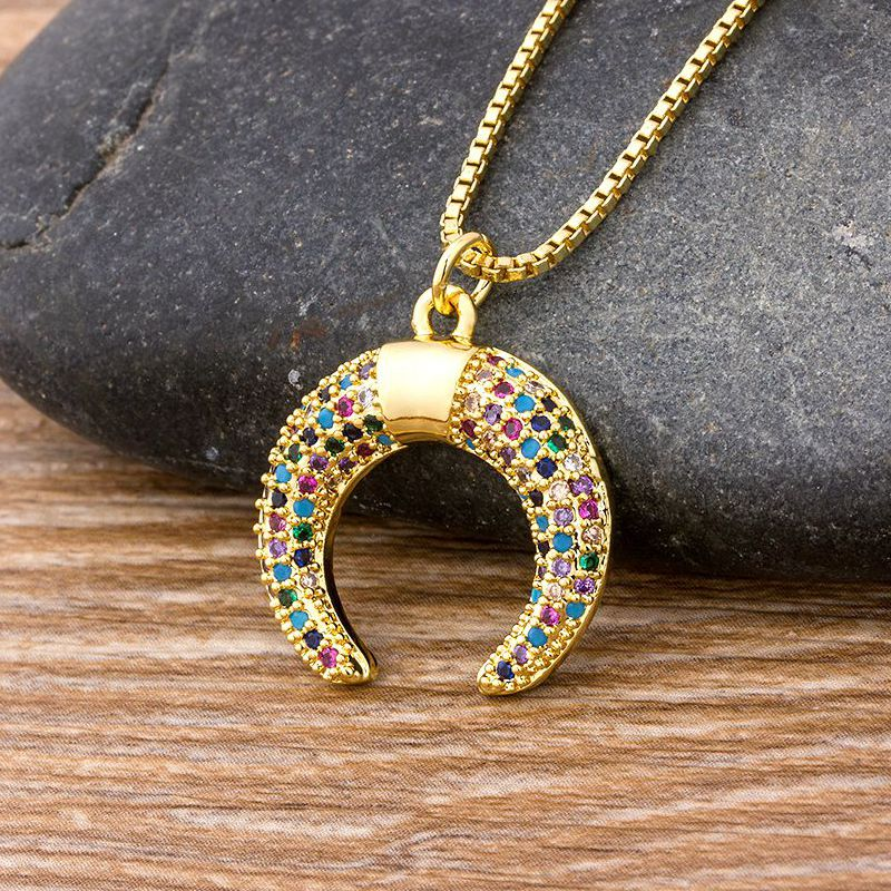 Hot Sale Copper Zircon Charm Horn Shape Chain Necklace Long Crescent Moon Pendant  Bohemia Rainbow Jewelry Gift For Women Girls