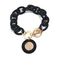 Boho negro blanco acrílico cadena pulsera Reina cabeza oro moneda colgante Pulseras para Mujer Pulseras Mujer Bransoletki Damskie