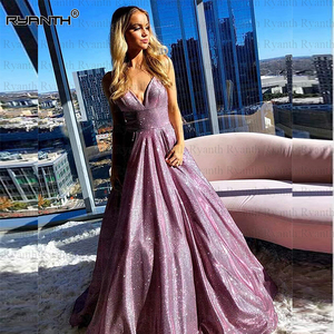 Vestidos de fiesta Sparkly Glitter Satin Prom Dress With Packets 2020 Spaghetti Strap A Line Lace Up Back Evening Dresses