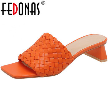 FEDONAS Sweet Fashion Women Sandals 2020 Spring Summer Peep Toe Thick Heels Pumps Newest Quality Dancing Casual Shoes Woman