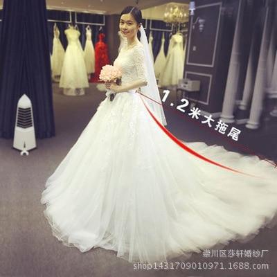 Lace Embroidered Organza Tulle Sweetheart Boat Neck Fashion 120cm Long Train Wedding Dress Brides Plus Size Vestido De Casamento