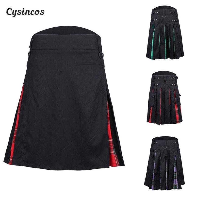 CYSINCOS 2019 Scottish Mens Kilt Traditional Plaid Belt Pleated Bilateral Chain Brown Gothic Punk Scottish Tartan Trousers Skirt