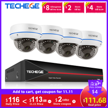 Techege H.265 4CH 1080P POE NVR CCTV Security System Kits 2MP POE IP Camera Dome Vandalproof Waterproof Video Surveillance Kit