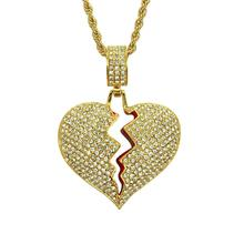 European and American popular explosion necklace hip-hop male broken heart alloy heart pendant necklace pendant european and american hip hop encrusted masked statue of liberty pendant necklace stainless steel color preserving plati