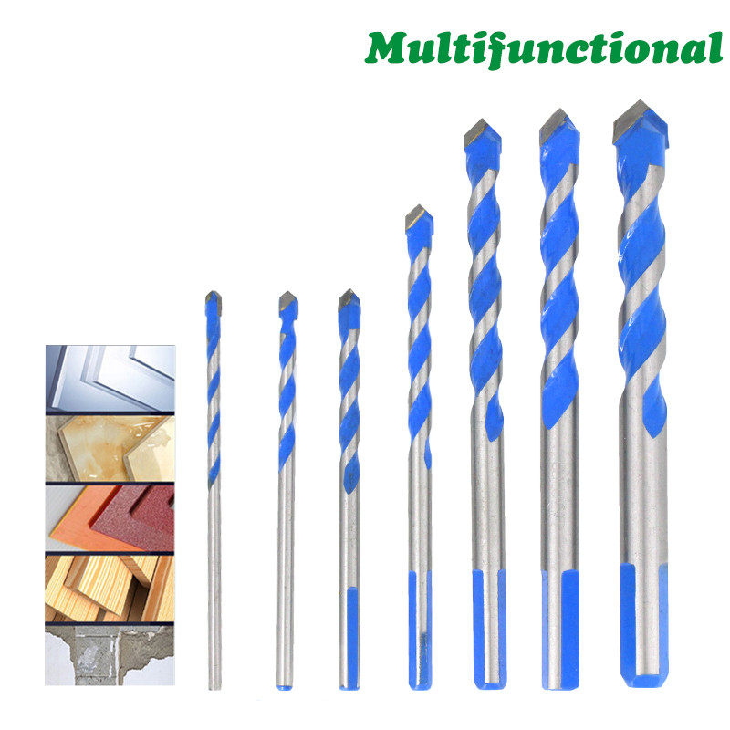 3 4 <font><b>5</b></font> <font><b>6</b></font> 8 10 12mm Multi-functional Glass Drill Bit Triangle Bits Ceramic Tile Concrete Brick Metal Stainless Steel Wood DB02075 image
