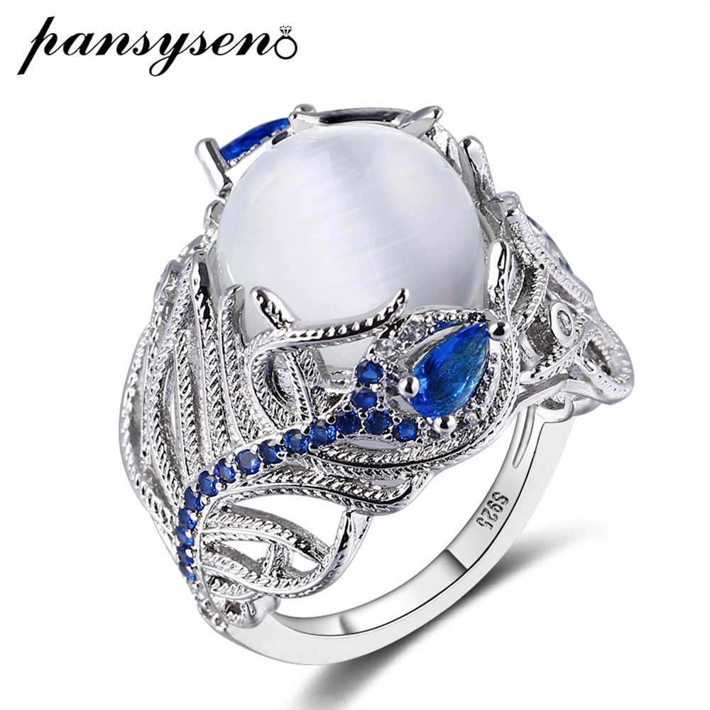 PANSYSEN Top Quality Created Moonstone Sapphire Rings Luxury Silver 925 Jewelry Ring Vintage Gemstone Fine Jewelry For Women Men
