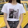 Kawaii милые кошачьи женские футболки Harajuku Horro с принтом черепа Футболка свободного кроя летние женские Забавные футболки с коротким рукавом, ...