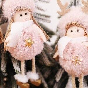 Image 2 - 2021 신년 선물 최신 크리스마스 귀여운 실크 봉제 천사 인형 크리스마스 트리 펜던트 노엘 크리스마스 장식 홈 2020 데코