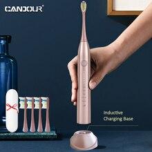 CANDOUR 5168 brosse à dents électrique sonique adulte minuterie brosse USB Rechargeable brosses à dents électriques avec tête de brosse de remplacement 8pc