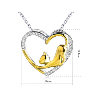 Image 3 - YFN Necklace 925 Sterling Silver Necklace Heart Cat Crystal Zircon Pendant Womans Jewelry Necklace Girls Gift Graduation Gifts