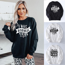 Vintage Casual Sweatshirt Women Tops Gift Ago No Kids 4 Letter Normal Mom Was Funny Mother's-Day-Tumblr