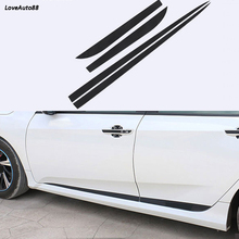 Auto Carbon Fiber Side Skirt Car Side Body Door Decoration Trim Accessories For Honda Civic 10th 2016 2017 2018 2019 цена и фото