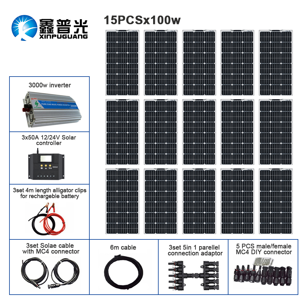110V 220V 1500w Solar Kit Off Grid System 15pcs 100w Flexible Solar Panel Module Controller 3000w Inverter For Boat RV Battery