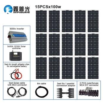 цена на 110V 220V 1500w Solar Kit Off Grid System 15pcs 100w Flexible Solar Panel Module Controller 3000w Inverter for Boat RV Battery
