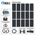 110V 220V 1500w Solar Kit Off Grid System 15pcs 100w Flexible Solar Panel Module Controller 3000w Inverter for Boat RV Battery