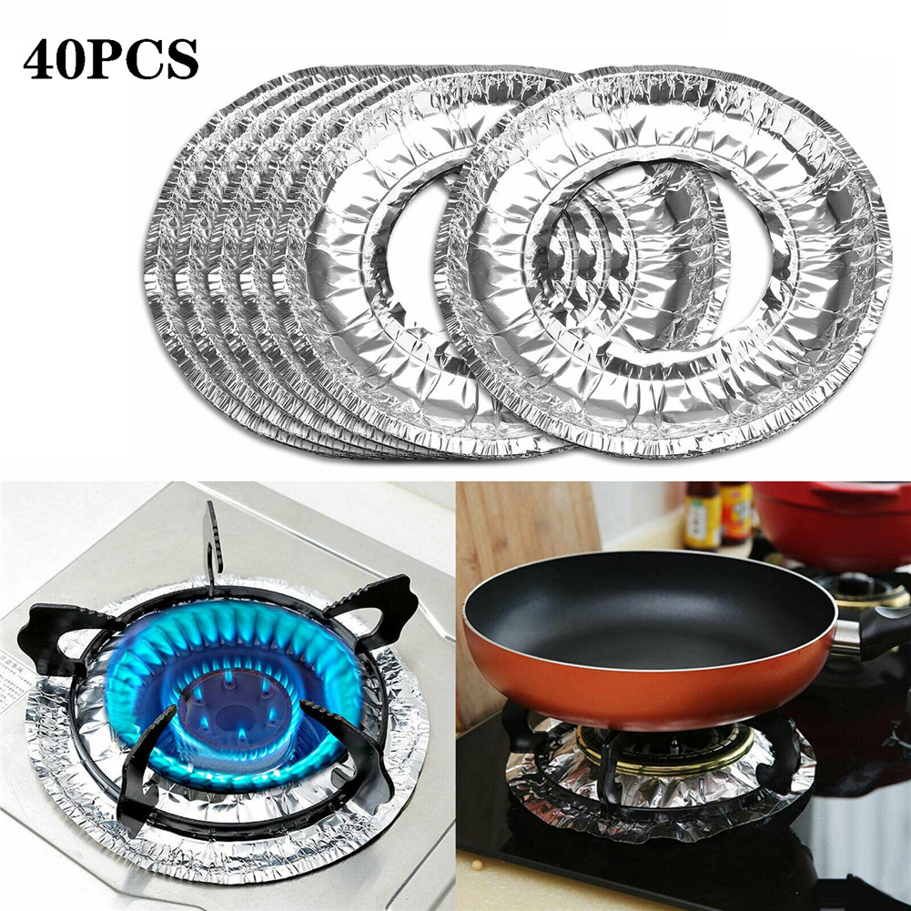 40pcs Aluminum Foil Circular Gas Burner Disposable Bib Liners Stove Covers 40FP04