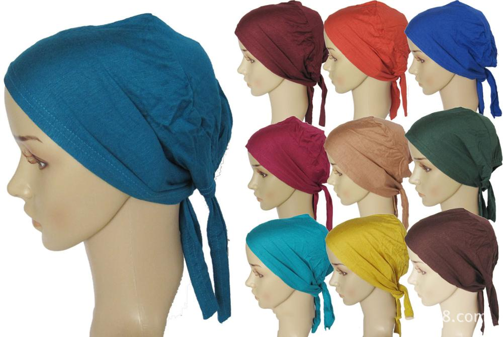 Jersey Bonnet Caps Under Scarf Head Wraps For Women Turban Hat With Tie-Back Closure Muslim Wrap Headscarf Turbante