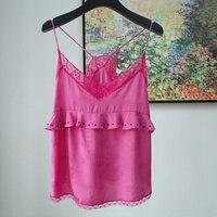 Women Tops Romantic Lace Stitching Silk Suspenders