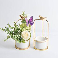 Gorąca sprzedaż mięsiste doniczka ptak okrągłe ramki ceramiczny kwiat pulpit dekoracyjne kwiat wiszące w Doniczki i skrzynki do kwiatów od Dom i ogród na