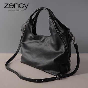 Zency Genuine Leather Fashion Women Tote Bag Mature Handbags Classic Black Half Moon Female Hobo Messenger Bags High Quality - DISCOUNT ITEM  50 OFF Luggage & Bags
