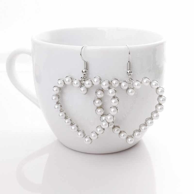 New ARRIVAL GOLD สี Love Heart Drop ต่างหูสำหรับผู้หญิงสไตล์เกาหลี Pearl Dangle ต่างหูแฟชั่นเครื่องประดับงานแต่งงาน
