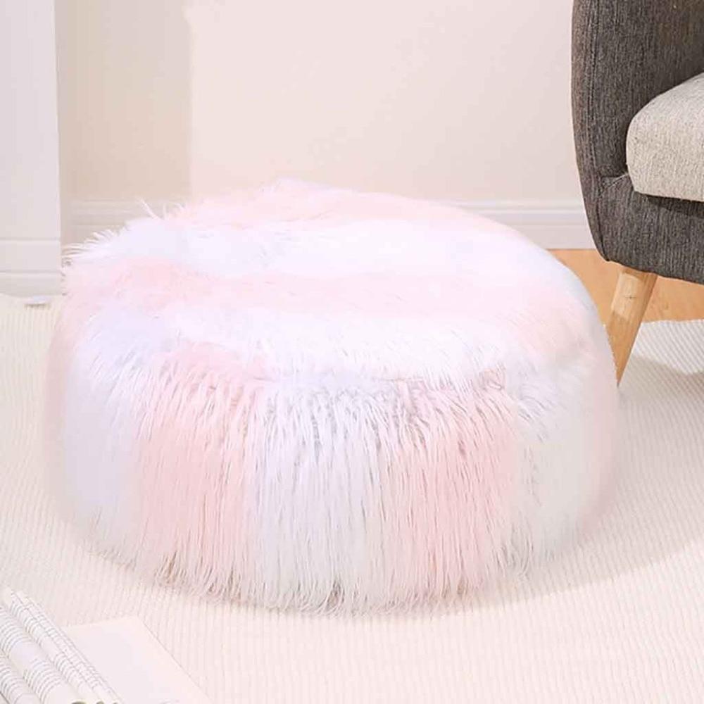 Plush Sofa Stool Futon Mat Inflatable Portable Round Footstool European Style (8)