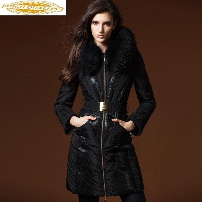 Winter Duck Down Jacket Women Long Down Coat Hooded Big Raccoon Fur Collar Korean Slim Lace Women's Down Jackets RY16718 KJ2739