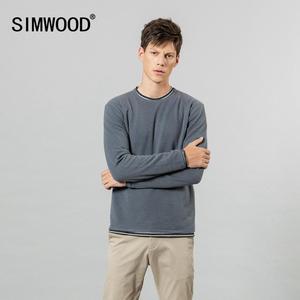 Image 1 - SIMWOOD 2019 sonbahar kış yeni çift katmanlı kazak erkekler kontrast renk çizgili örme kazaklar temel kaliteli giysiler 584